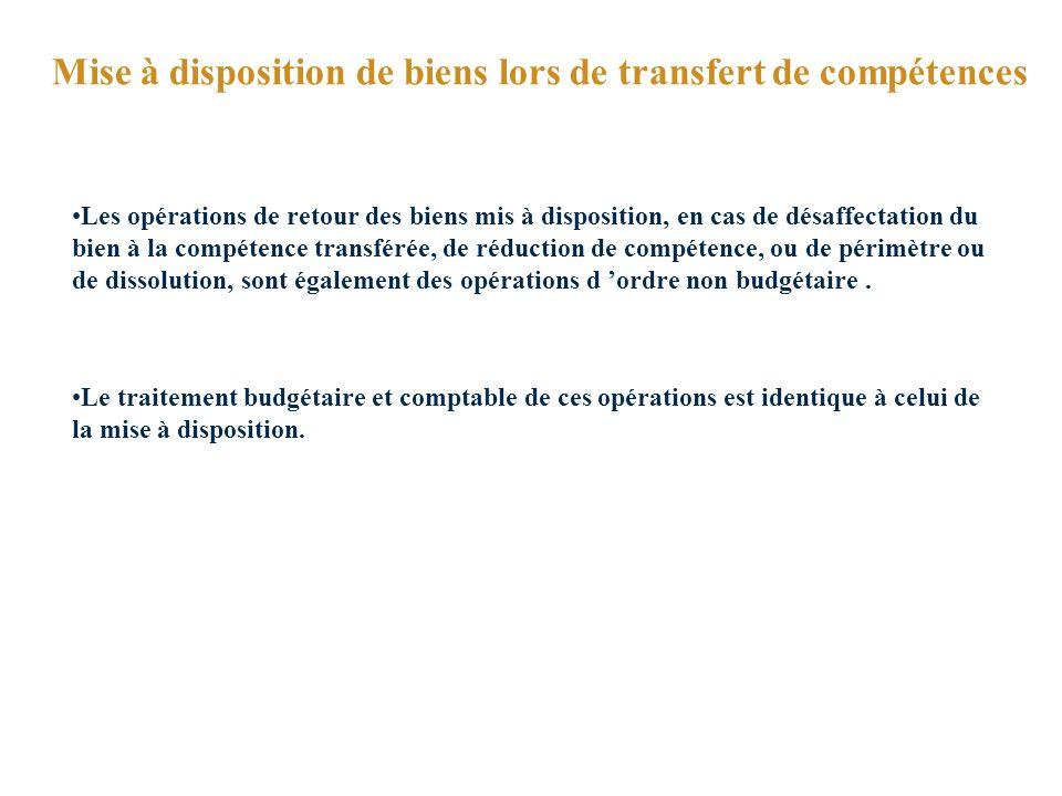 Mise à disposition de biens lors de transfert de compétences Les opérations de retour des biens mis à disposition, en cas de désaffectation du bien à la compétence transférée, de réduction de compétence, ou de périmètre ou de dissolution, sont également des opérations d ordre non budgétaire.