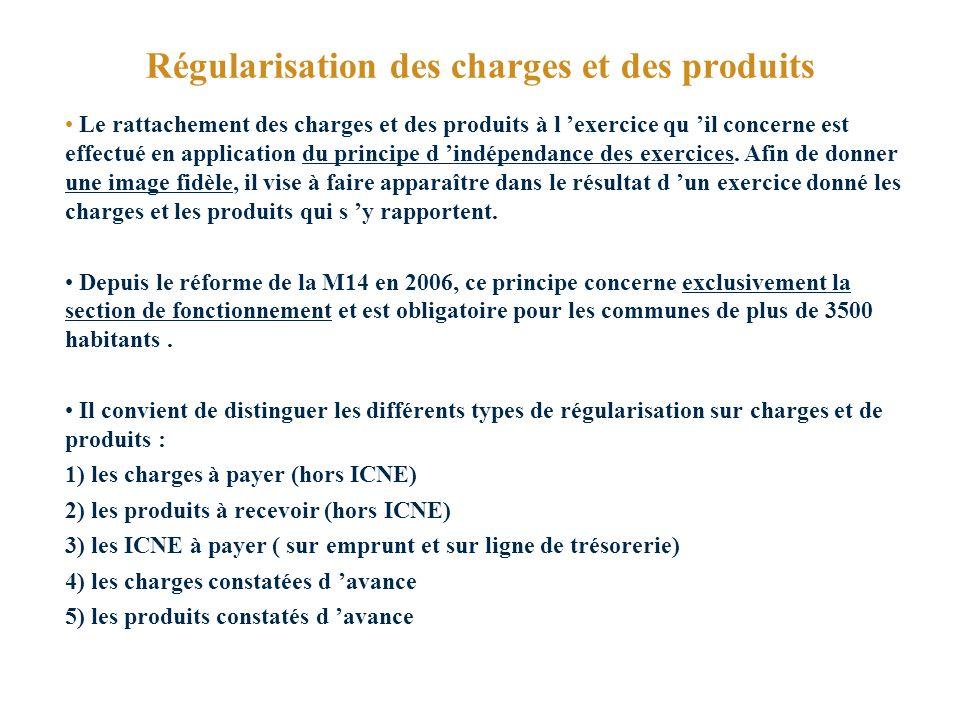 Régularisation des charges et des produits Le rattachement des charges et des produits à l exercice qu il concerne est effectué en application du principe d indépendance des exercices.