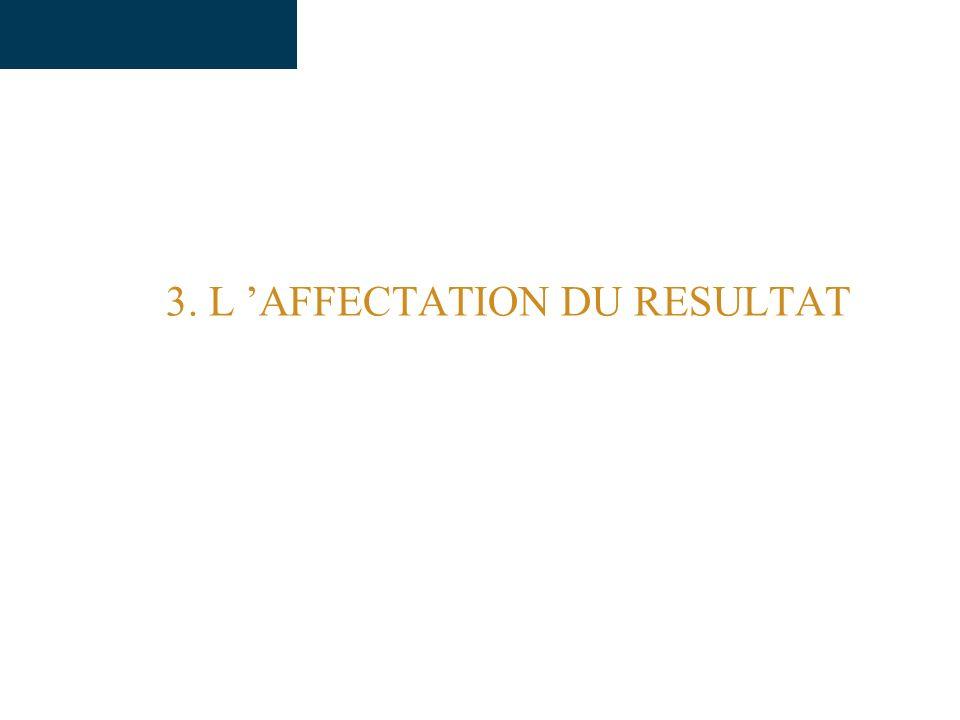 3. L AFFECTATION DU RESULTAT