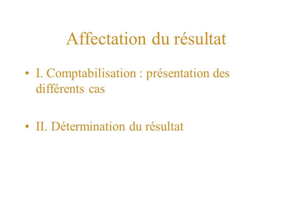 Affectation du résultat I.Comptabilisation : présentation des différents cas II.