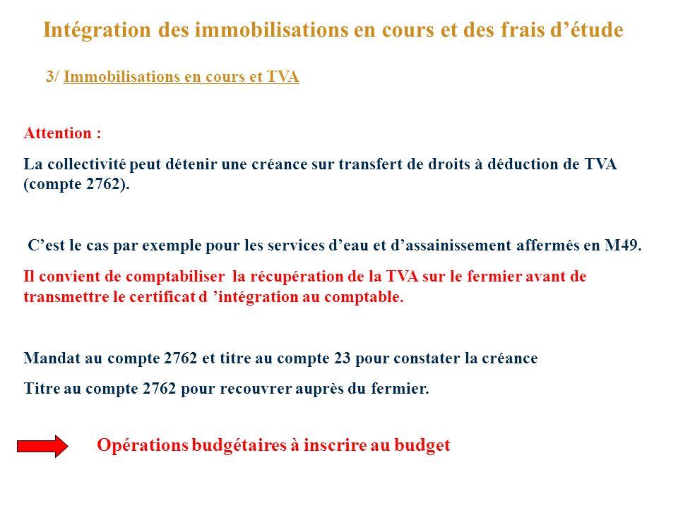 Intégration des immobilisations en cours et des frais détude 3/ Immobilisations en cours et TVA Attention : La collectivité peut détenir une créance sur transfert de droits à déduction de TVA (compte 2762).