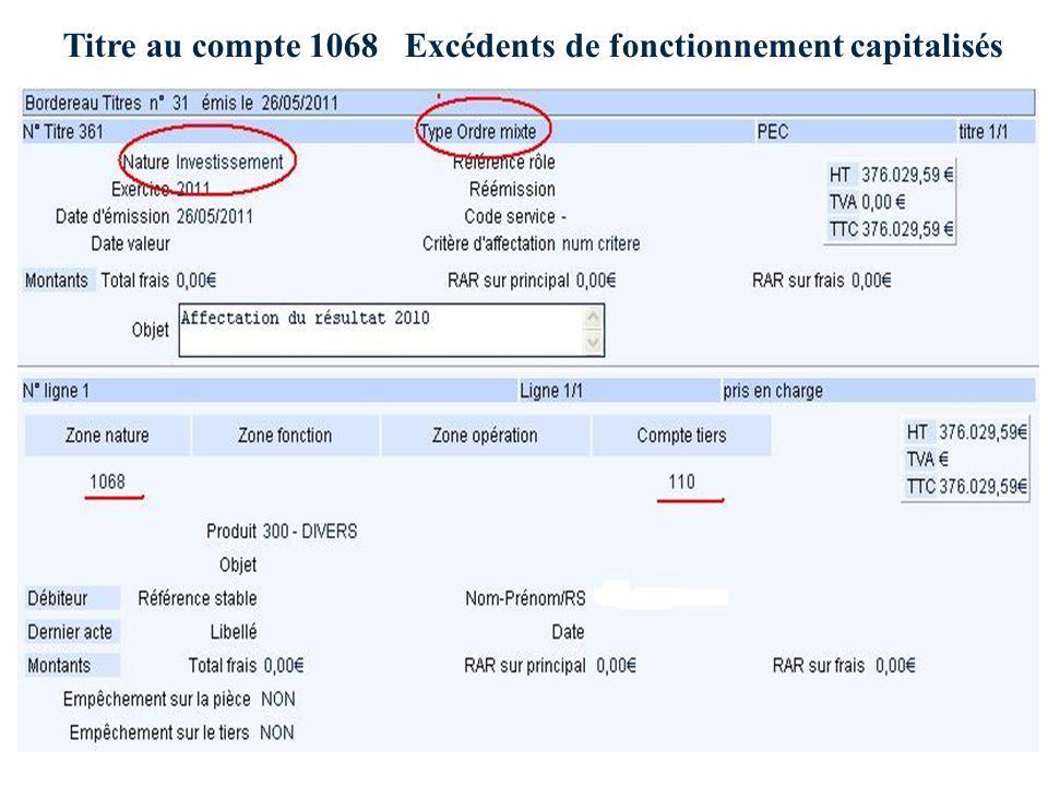 Titre au compte 1068 Excédents de fonctionnement capitalisés