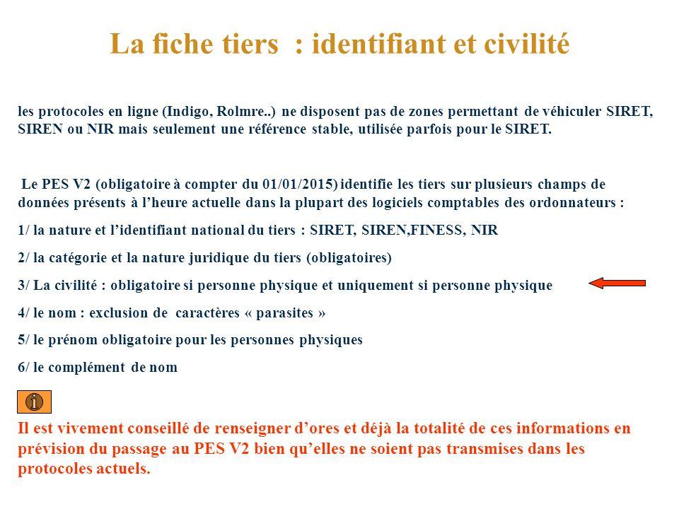 La fiche tiers : identifiant et civilité les protocoles en ligne (Indigo, Rolmre..) ne disposent pas de zones permettant de véhiculer SIRET, SIREN ou NIR mais seulement une référence stable, utilisée parfois pour le SIRET.