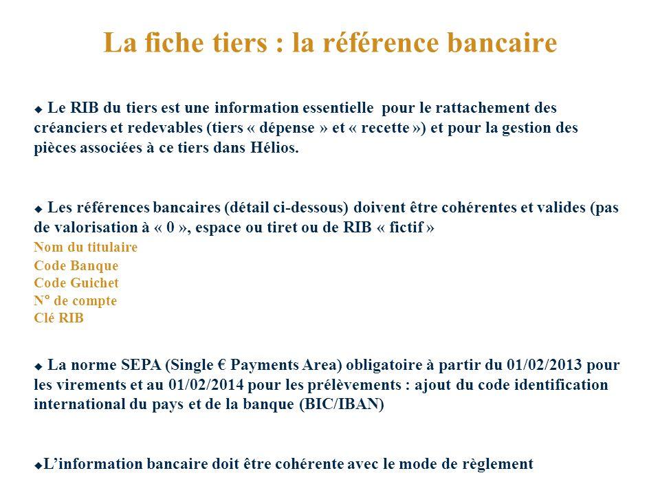 La fiche tiers : la référence bancaire Le RIB du tiers est une information essentielle pour le rattachement des créanciers et redevables (tiers « dépense » et « recette ») et pour la gestion des pièces associées à ce tiers dans Hélios.