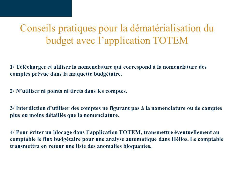 Conseils pratiques pour la dématérialisation du budget avec lapplication TOTEM 1/ Télécharger et utiliser la nomenclature qui correspond à la nomenclature des comptes prévue dans la maquette budgétaire.