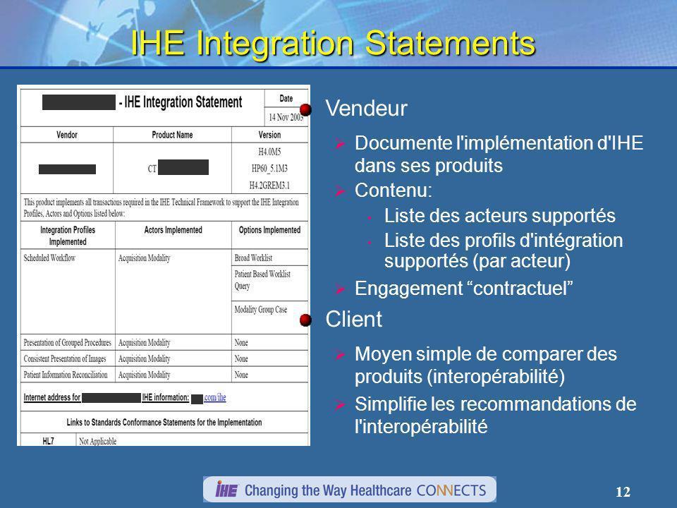 12 IHE Integration Statements Vendeur Documente l implémentation d IHE dans ses produits Contenu: Liste des acteurs supportés Liste des profils d intégration supportés (par acteur) Engagement contractuel Client Moyen simple de comparer des produits (interopérabilité) Simplifie les recommandations de l interopérabilité