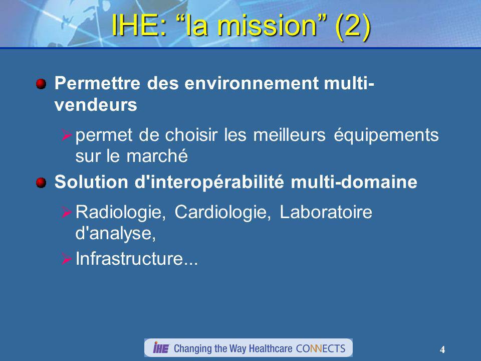 4 IHE: la mission (2) Permettre des environnement multi- vendeurs permet de choisir les meilleurs équipements sur le marché Solution d interopérabilité multi-domaine Radiologie, Cardiologie, Laboratoire d analyse, Infrastructure...