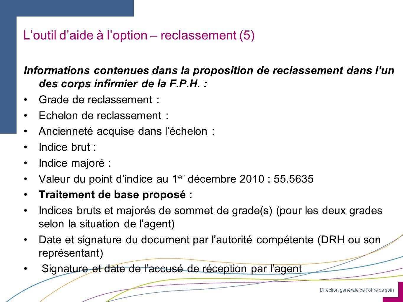 Direction générale de loffre de soin Informations contenues dans la proposition de reclassement dans lun des corps infirmier de la F.P.H. : Grade de r