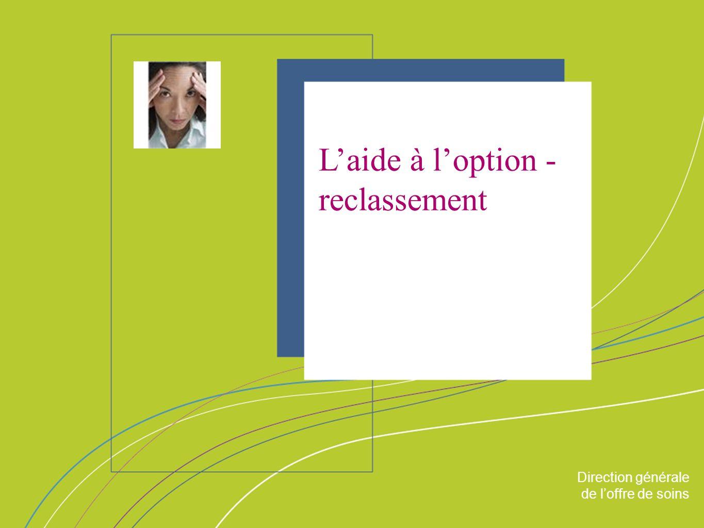 Direction générale de loffre de soin ORGANISATION & MISSIONS Direction générale de loffre de soins Laide à loption - reclassement