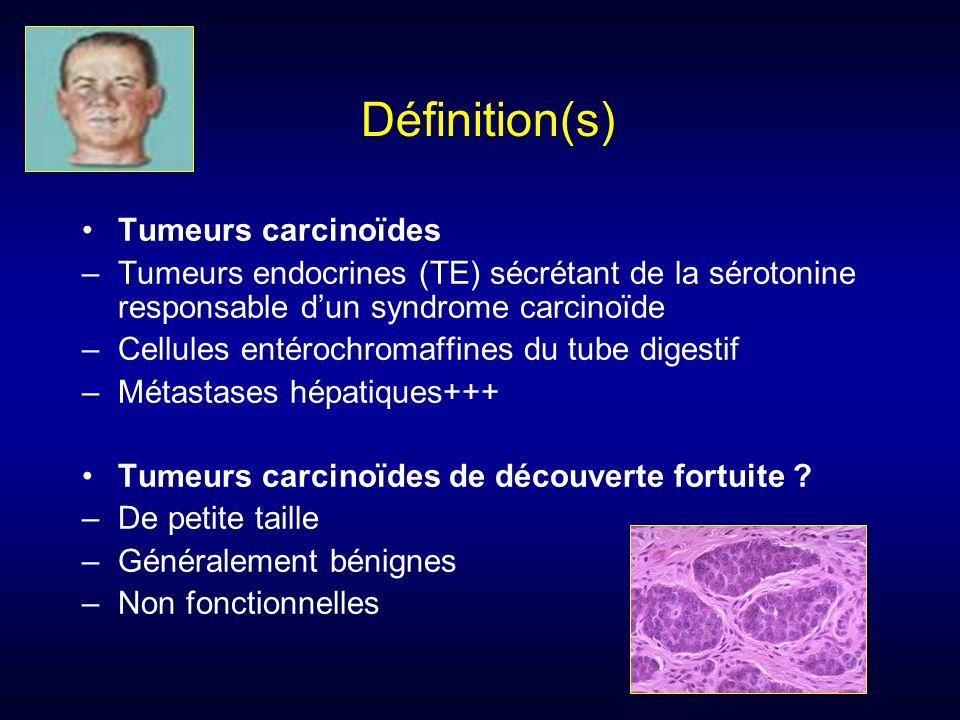 Définition(s) Tumeurs carcinoïdes –Tumeurs endocrines (TE) sécrétant de la sérotonine responsable dun syndrome carcinoïde –Cellules entérochromaffines