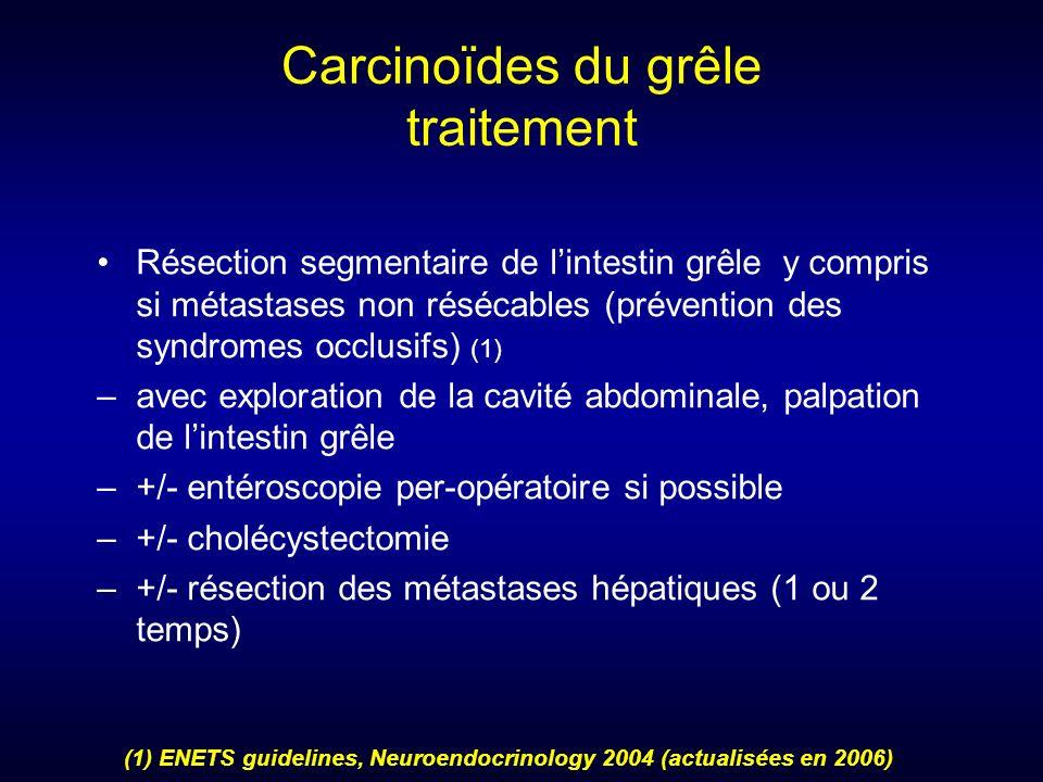 Carcinoïdes du grêle traitement Résection segmentaire de lintestin grêle y compris si métastases non résécables (prévention des syndromes occlusifs) (