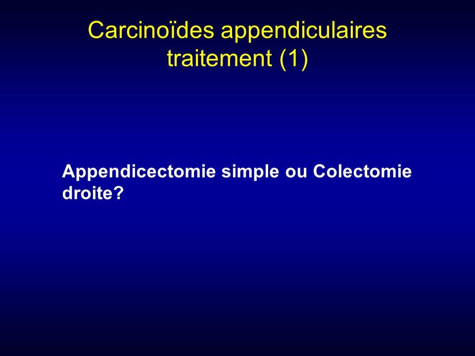 Carcinoïdes appendiculaires traitement (1) Appendicectomie simple ou Colectomie droite?