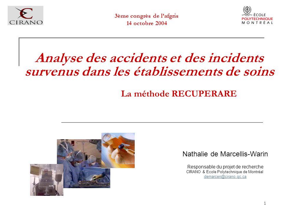 1 Analyse des accidents et des incidents survenus dans les établissements de soins La méthode RECUPERARE Nathalie de Marcellis-Warin Responsable du pr