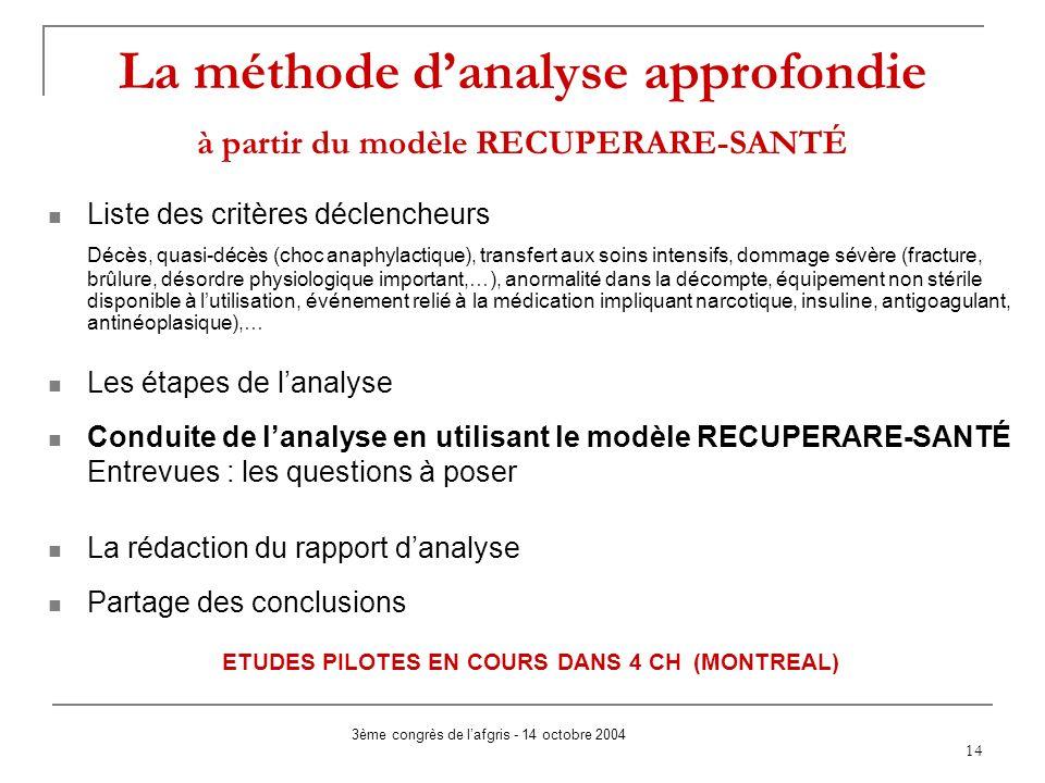 14 La méthode danalyse approfondie à partir du modèle RECUPERARE-SANTÉ Liste des critères déclencheurs Décès, quasi-décès (choc anaphylactique), trans