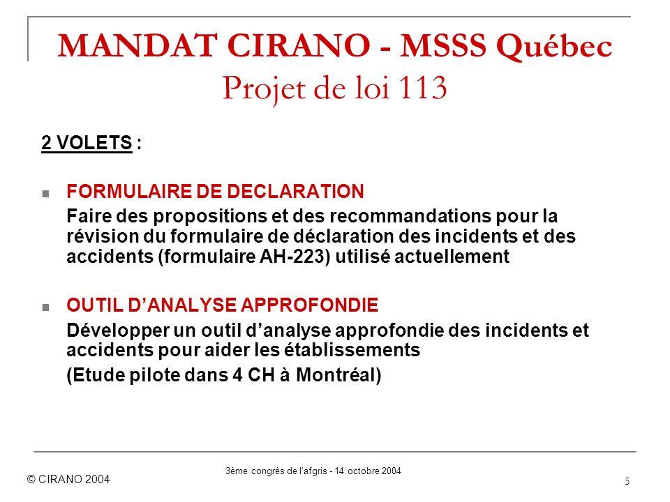 5 MANDAT CIRANO - MSSS Québec Projet de loi 113 2 VOLETS : FORMULAIRE DE DECLARATION Faire des propositions et des recommandations pour la révision du