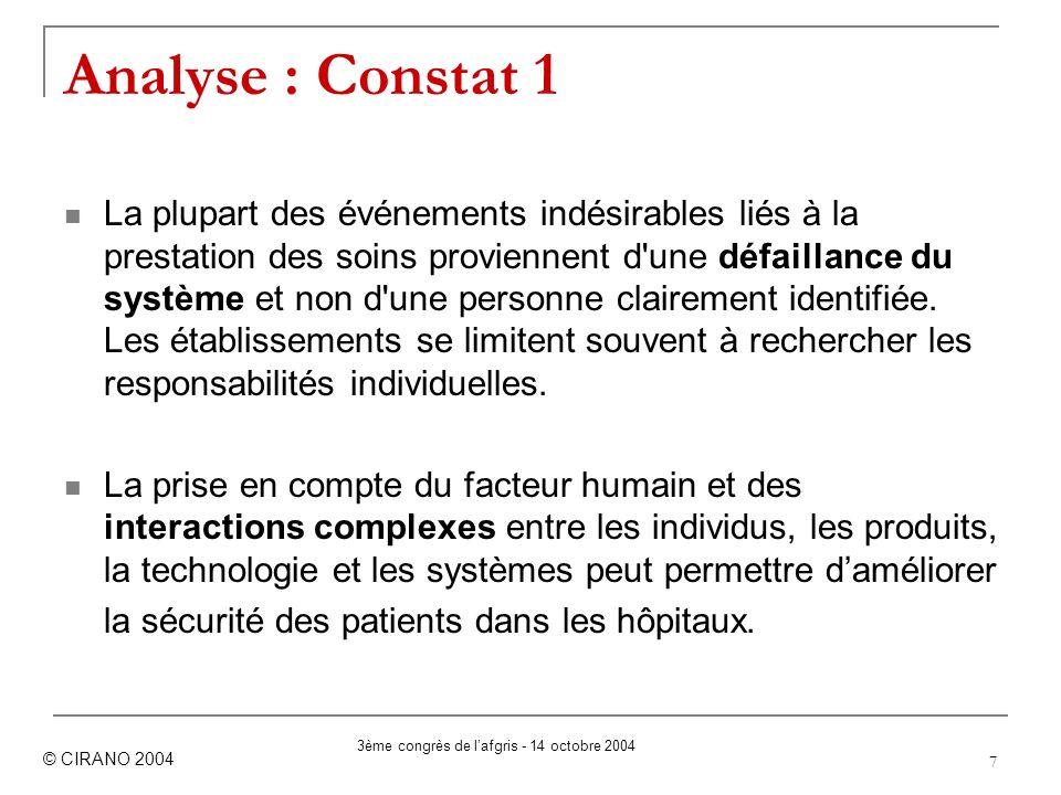 7 Analyse : Constat 1 La plupart des événements indésirables liés à la prestation des soins proviennent d'une défaillance du système et non d'une pers