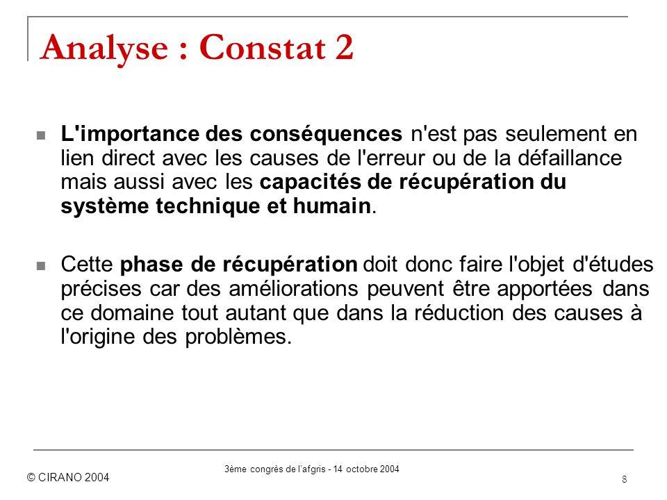 8 Analyse : Constat 2 L'importance des conséquences n'est pas seulement en lien direct avec les causes de l'erreur ou de la défaillance mais aussi ave