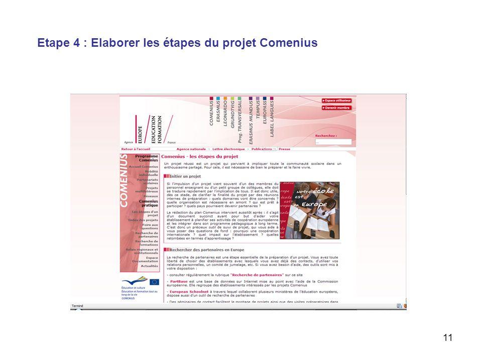 11 Etape 4 : Elaborer les étapes du projet Comenius