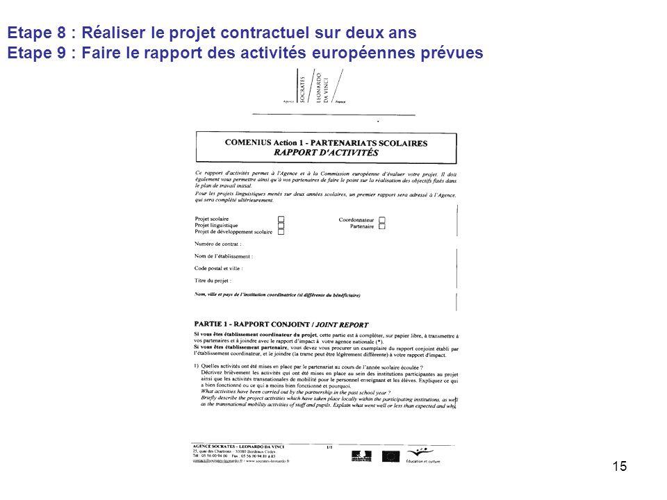 15 Etape 8 : Réaliser le projet contractuel sur deux ans Etape 9 : Faire le rapport des activités européennes prévues