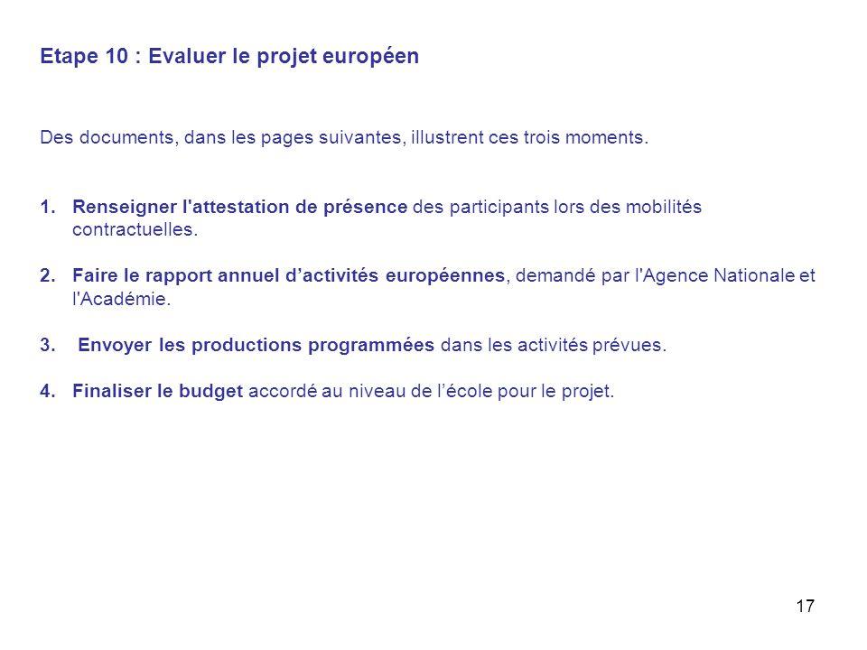 17 Etape 10 : Evaluer le projet européen Des documents, dans les pages suivantes, illustrent ces trois moments. 1.Renseigner l'attestation de présence