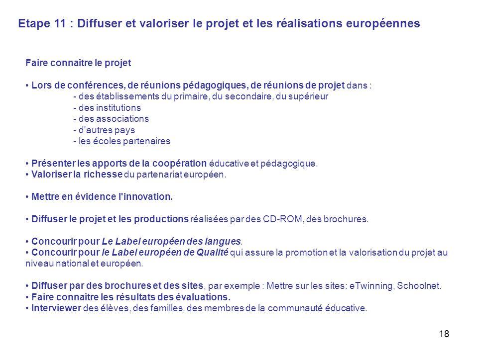 18 Etape 11 : Diffuser et valoriser le projet et les réalisations européennes Faire connaître le projet Lors de conférences, de réunions pédagogiques,