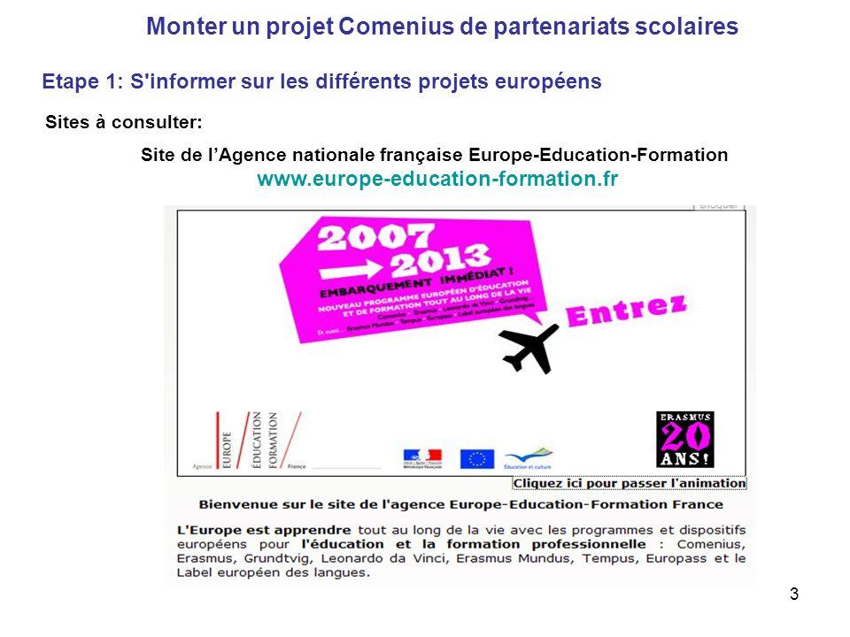 3 Monter un projet Comenius de partenariats scolaires Etape 1: S'informer sur les différents projets européens Sites à consulter: Site de lAgence nati