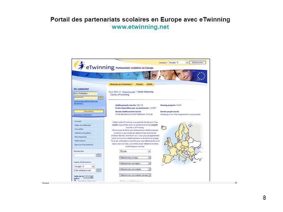 8 Portail des partenariats scolaires en Europe avec eTwinning www.etwinning.net