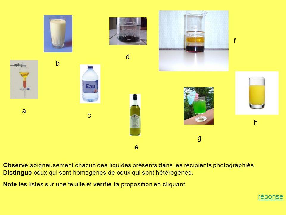 a b c d e f g h Observe soigneusement chacun des liquides présents dans les récipients photographiés. Distingue ceux qui sont homogènes de ceux qui so