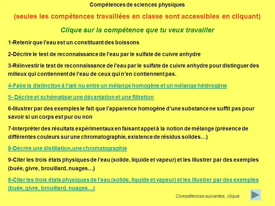 Compétences de sciences physiques (seules les compétences travaillées en classe sont accessibles en cliquant) Clique sur la compétence que tu veux tra