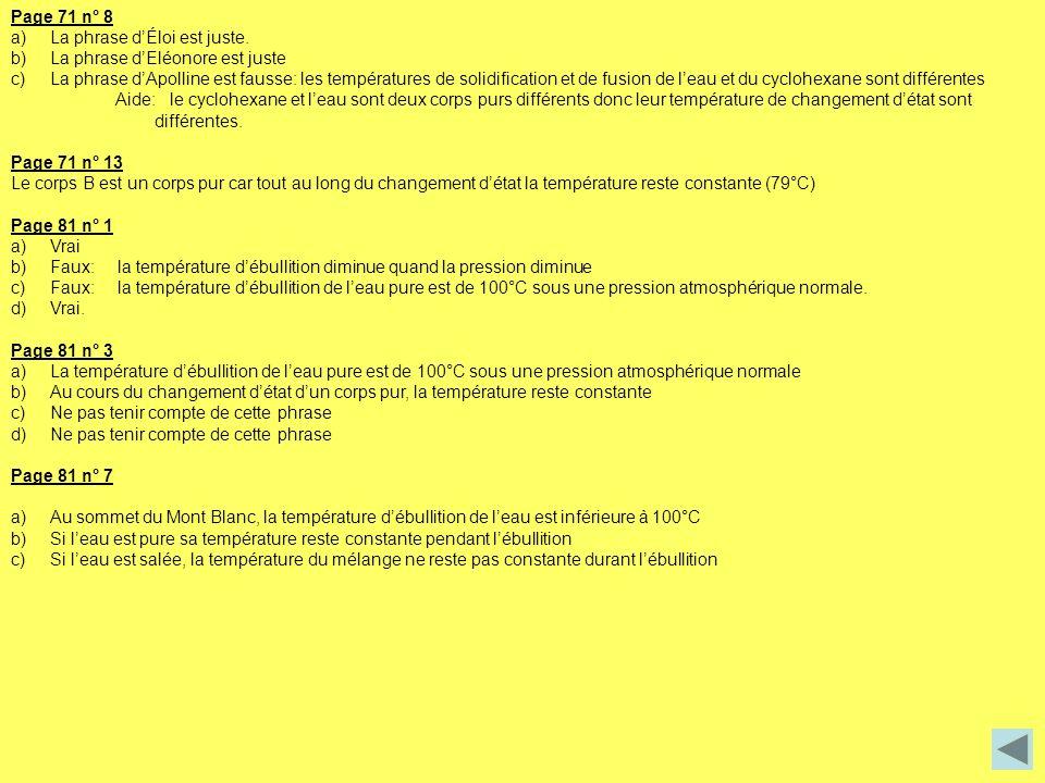 Page 71 n° 8 a)La phrase dÉloi est juste. b)La phrase dEléonore est juste c)La phrase dApolline est fausse: les températures de solidification et de f