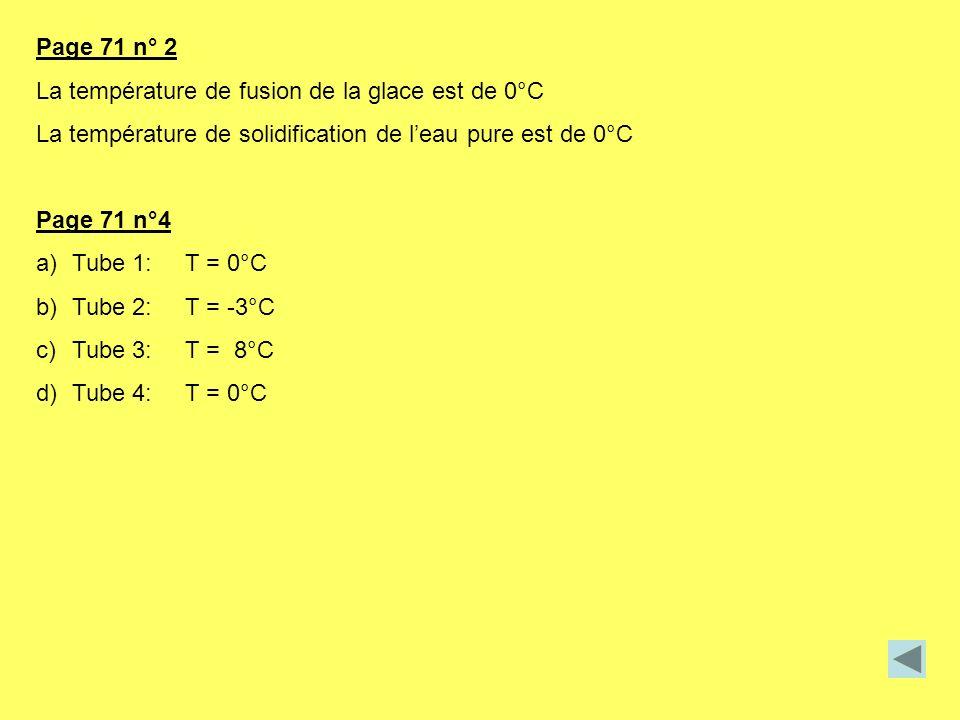 Page 71 n° 2 La température de fusion de la glace est de 0°C La température de solidification de leau pure est de 0°C Page 71 n°4 a)Tube 1: T = 0°C b)