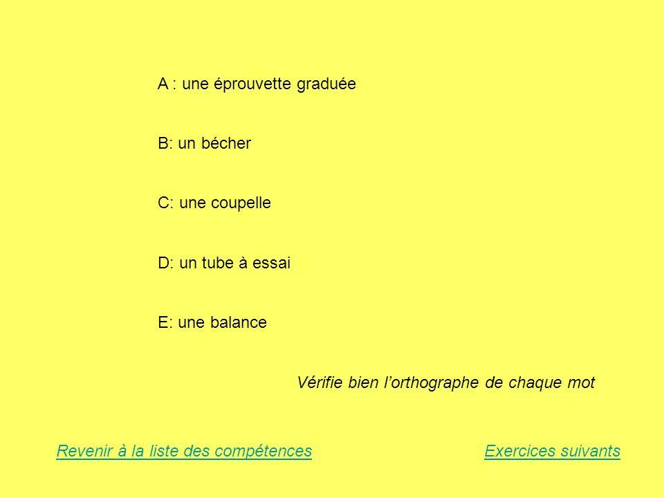 A : une éprouvette graduée B: un bécher C: une coupelle D: un tube à essai E: une balance Vérifie bien lorthographe de chaque mot Revenir à la liste d