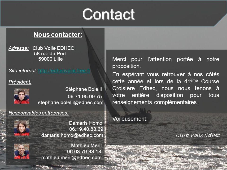 Nous contacter: Adresse: Club Voile EDHEC 58 rue du Port 59000 Lille Site internet: http://edhecvoile.free.frhttp://edhecvoile.free.fr Président: Stép