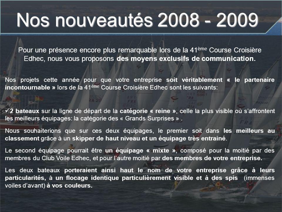 Nos nouveautés 2008 - 2009 Nos projets cette année pour que votre entreprise soit véritablement « le partenaire incontournable » lors de la 41 ème Cou