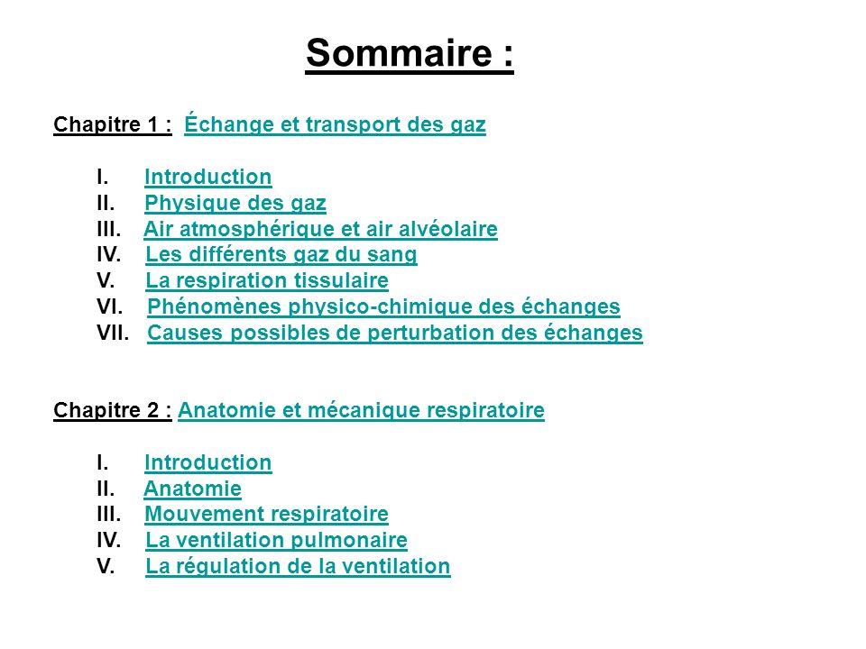 Sommaire : Chapitre 1 : Échange et transport des gazÉchange et transport des gaz I. IntroductionIntroduction II. Physique des gazPhysique des gaz III.