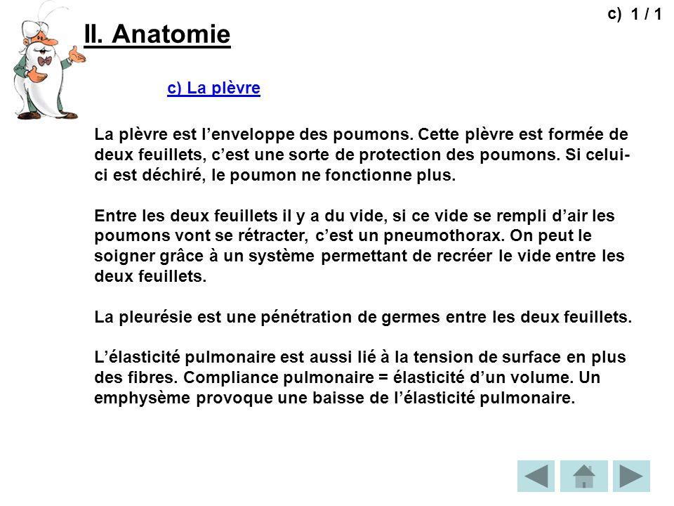 II. Anatomie 1 / 1 c) c) La plèvre La plèvre est lenveloppe des poumons. Cette plèvre est formée de deux feuillets, cest une sorte de protection des p