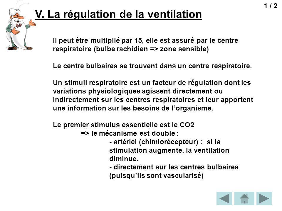 V. La régulation de la ventilation 1 / 2 Il peut être multiplié par 15, elle est assuré par le centre respiratoire (bulbe rachidien => zone sensible)