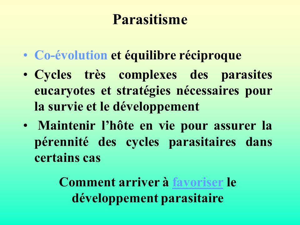 Parasitisme Co-évolution et équilibre réciproque Cycles très complexes des parasites eucaryotes et stratégies nécessaires pour la survie et le dévelop