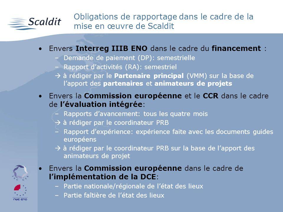 Obligations de rapportage dans le cadre de la mise en œuvre de Scaldit Envers Interreg IIIB ENO dans le cadre du financement : –Demande de paiement (DP): semestrielle –Rapport dactivités (RA): semestriel à rédiger par le Partenaire principal (VMM) sur la base de lapport des partenaires et animateurs de projets Envers la Commission européenne et le CCR dans le cadre de lévaluation intégrée: –Rapports davancement: tous les quatre mois à rédiger par le coordinateur PRB –Rapport dexpérience: expérience faite avec les documents guides européens à rédiger par le coordinateur PRB sur la base de lapport des animateurs de projet Envers la Commission européenne dans le cadre de limplémentation de la DCE: –Partie nationale/régionale de létat des lieux –Partie faîtière de létat des lieux