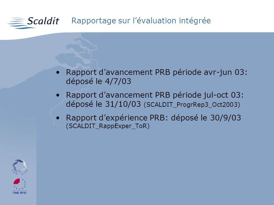 Rapportage sur lévaluation intégrée Rapport davancement PRB période avr-jun 03: déposé le 4/7/03 Rapport davancement PRB période jul-oct 03: déposé le 31/10/03 (SCALDIT_ProgrRep3_Oct2003) Rapport dexpérience PRB: déposé le 30/9/03 (SCALDIT_RappExper_ToR)