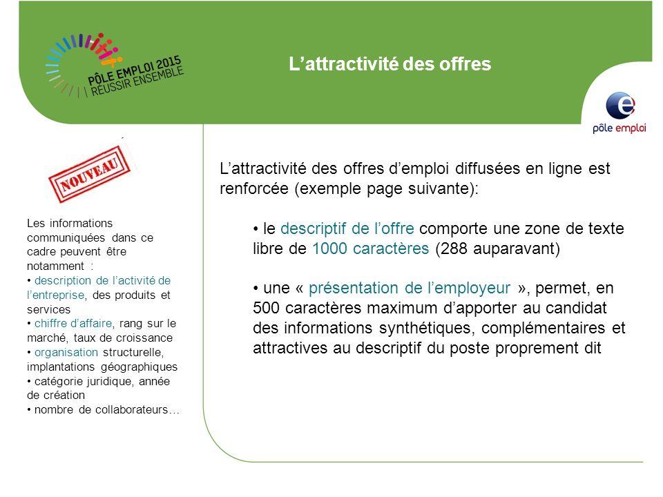 Lattractivité des offres Lattractivité des offres demploi diffusées en ligne est renforcée (exemple page suivante): le descriptif de loffre comporte u