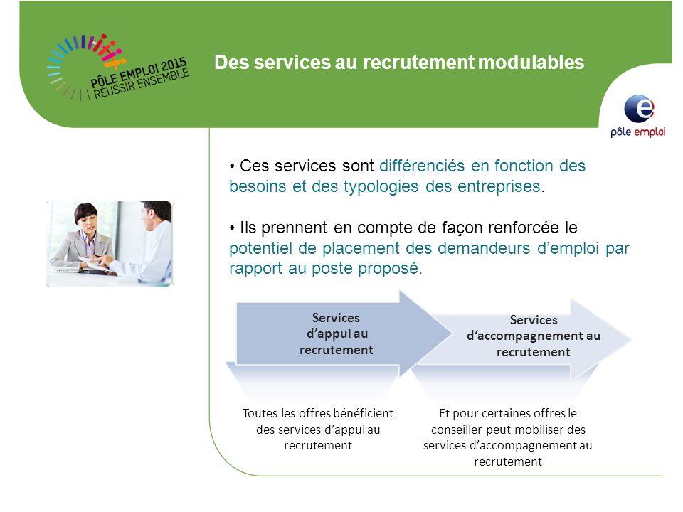 Des services au recrutement modulables Ces services sont différenciés en fonction des besoins et des typologies des entreprises. Ils prennent en compt