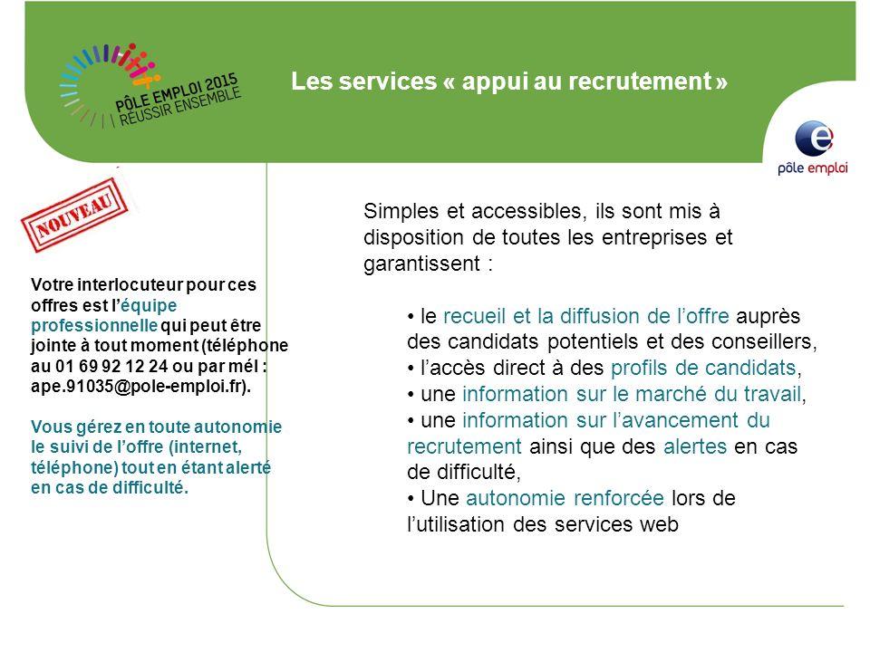 Les services « appui au recrutement » Simples et accessibles, ils sont mis à disposition de toutes les entreprises et garantissent : le recueil et la