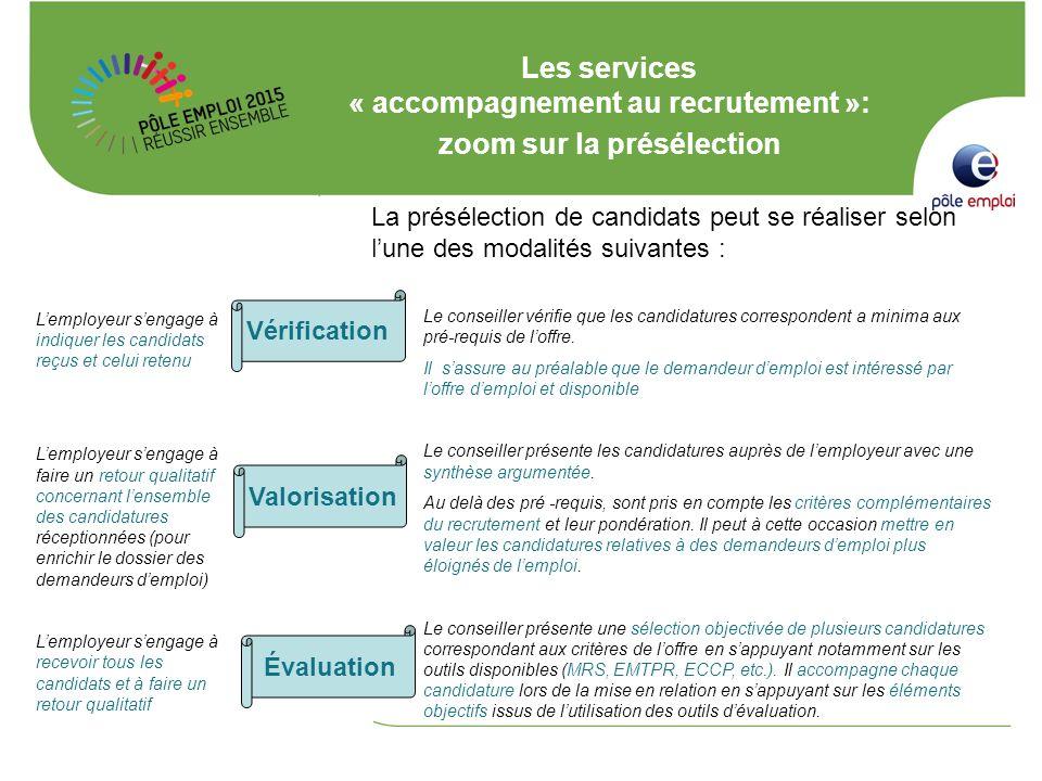 Les services « accompagnement au recrutement »: zoom sur la présélection Lemployeur sengage à indiquer les candidats reçus et celui retenu Lemployeur