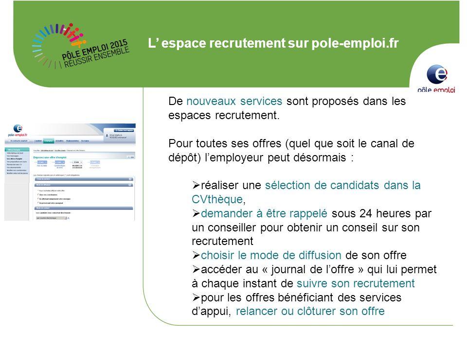 L espace recrutement sur pole-emploi.fr De nouveaux services sont proposés dans les espaces recrutement. Pour toutes ses offres (quel que soit le cana