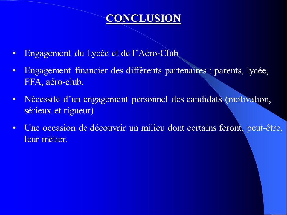 CONCLUSION Engagement du Lycée et de lAéro-Club Engagement financier des différents partenaires : parents, lycée, FFA, aéro-club.