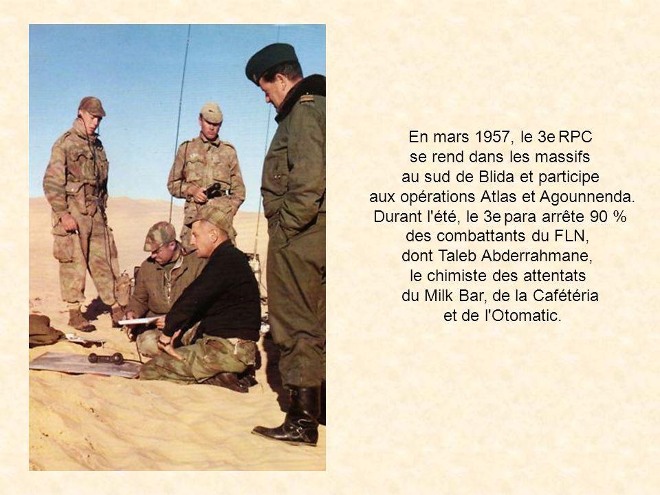 Au début de l'année 1957, le régiment participe au sein de la 10e DP du général Massu à la bataille d'Alger. La mission des parachutistes est de ramen