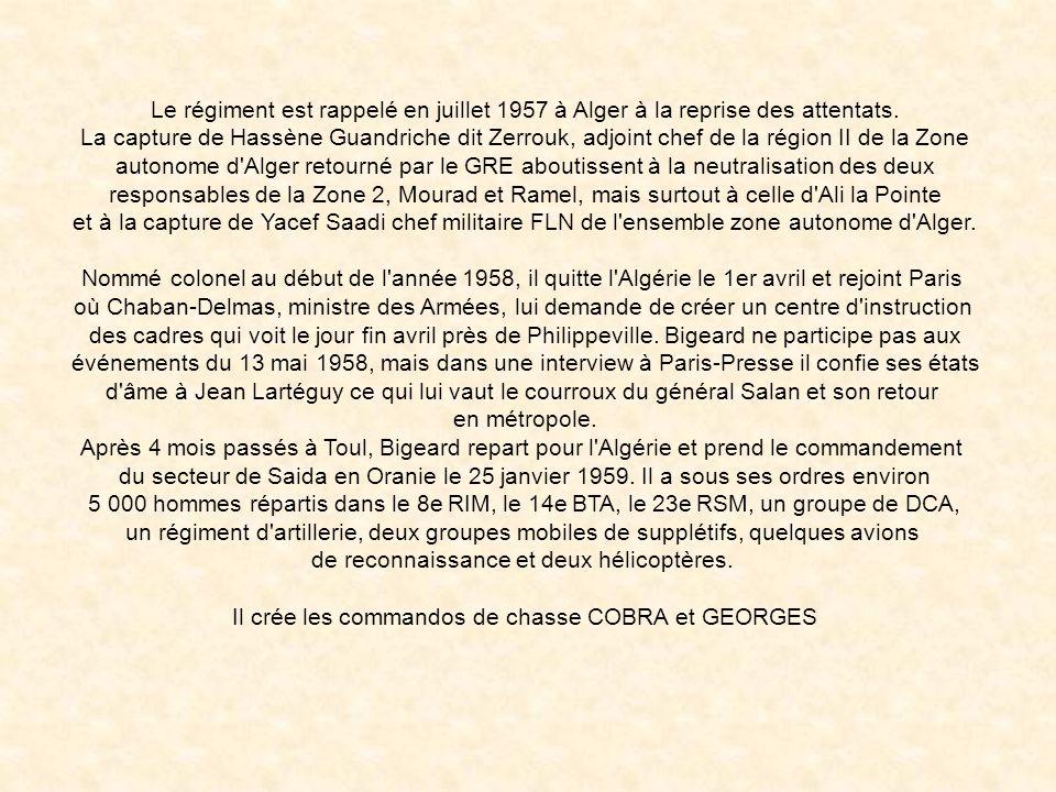 En mars 1957, le 3e RPC se rend dans les massifs au sud de Blida et participe aux opérations Atlas et Agounnenda. Durant l'été, le 3e para arrête 90 %