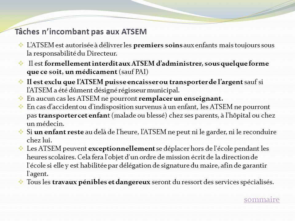 Tâches nincombant pas aux ATSEM LATSEM est autorisée à délivrer les premiers soins aux enfants mais toujours sous la responsabilité du Directeur. Il e