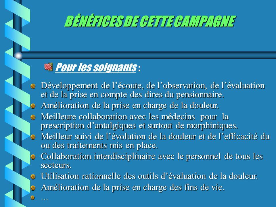 BĖNĖFICES DE CETTE CAMPAGNE Pour les soignants : Développement de lécoute, de lobservation, de lévaluation et de la prise en compte des dires du pensionnaire.